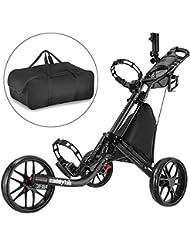 CaddyTek Pulverbeschichtung 3Rad Golf Push cart-dark grau mit Aufbewahrungstasche