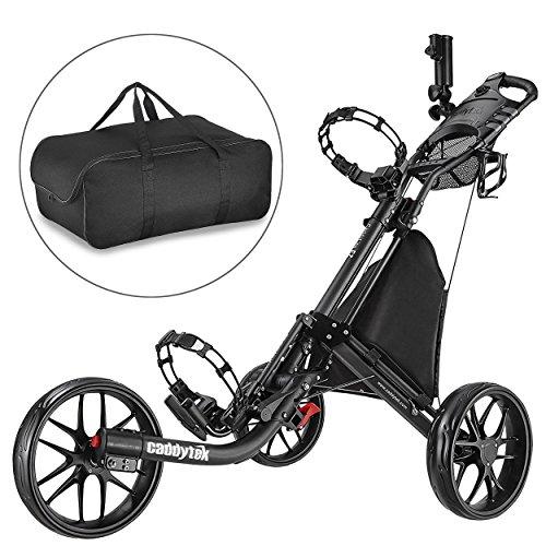 CaddyTek Golfwagen golf trolleys 3 Rad Golf Push cart leicht falten-dark grau mit lager - tasche
