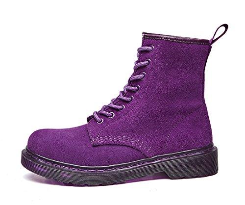 Honeystore Schnür Stiefeletten Worker Boots Profilsohle Schnürschuhe Schlupfstiefel Combat Boots Leder Winter Stiefel Schuhe Violett 40 EU -