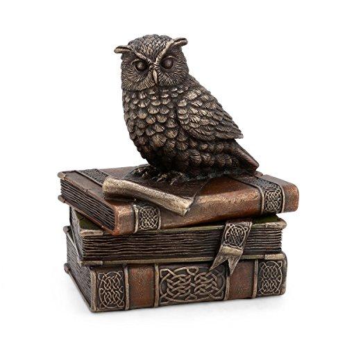 """CraftVatika Schmuckkästchen \""""Mystische Wächtereule\"""", Schmuckbox, Statue mit Buch und Ablagefach für dekorativen Gothic- & Mittelalter-Stil"""