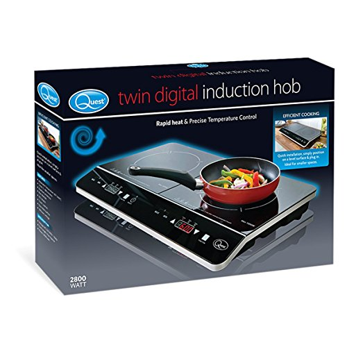 51ahruQAgzL. SS500  - Quest 35840 Digital Induction Hob Hot Plate with 10 Temperature Settings and Touch Control, Double, 2800 W, Black