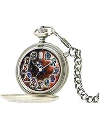 Dr Who DR207 - Reloj de bolsillo de cuarzo, para hombre, con correa de plástico, color plateado