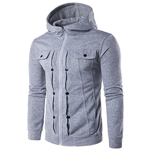 Hansee Strickjacke Mit Kapuze Top Jacke herren Herbst Winter Mode Männer Schlank Entworfen Solide Zipper Mantel Kleidung (L, Grau) (Quiksilver-herbst Jacke)