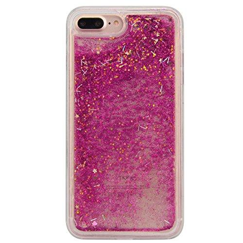 """WE LOVE CASE iPhone 7 Plus 5,5"""" Hülle Weich Silikon iPhone 7 Plus 5,5"""" Schutzhülle Handyhülle Im Durchsichtig Transparent Crystal Clear Treibsand Glitzer Liquid Quicksand Funkeln Stern Liebe Silber St Rose"""
