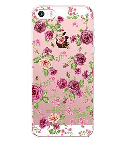Pacyer Custodia iPhone 5 / 5S / SE Case TPU Custodia Chiaro Cristallo Protezione a 360 gradi Morbido Cover Anti-scratch Bumper per iPhone 5 / 5S / SE - Ultra Sottile (Fiore 2)
