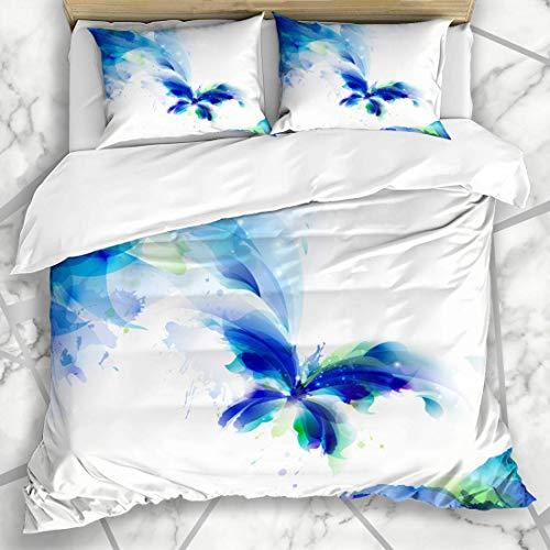Soefipok Bettbezug-Sets Saison Aquarell Natur Abstrakt Schmetterling Blau Form Cyan Flecken Fliegen Fleck Mikrofaser Bettwäsche mit 2 Kissenbezügen (Bettwäsche Schmetterling Flecken)