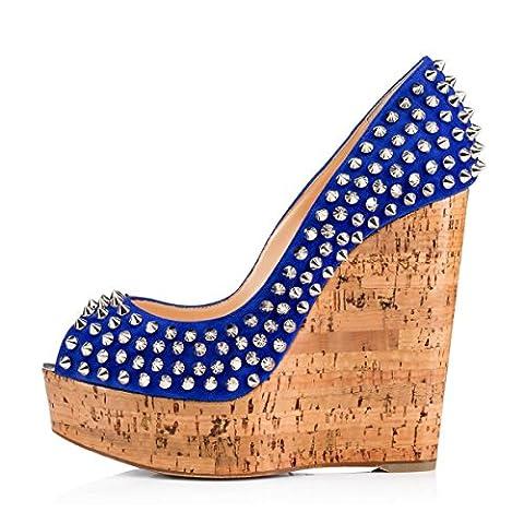 Damen Elegante Slip-on Nietbolzen Wedge Hoch Absatz Pumps 6 Inch Open Toe Keilschuhe Komfort mehrfarbige Lady Sexy Schuhe Blau EU41