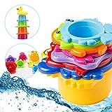 OleOletOy Kinder Badewannenspielzeug Set - 8X Stapelbecher mit Einer Badeente | 2 in 1: Wasser/Sand Abfliessen, Becher Stapeln | Spielzeug für Baby - BPA Frei Badespielzeug Sandspielzeug