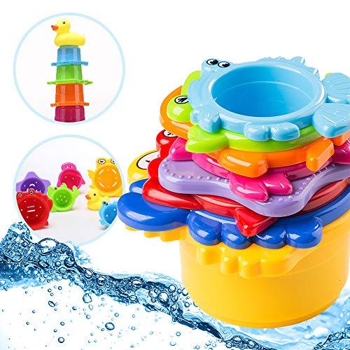 OleOletOy Kinder Badewannenspielzeug Set - 8X Stapelbecher mit Einer Badeente | 2 in 1: Wasser/Sand Abfliessen, Becher Stapeln | Spielzeug für Baby - BPA frei Badespielzeug Sandspielzeug - Spielzeug Kinder Stapeln