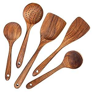 AOOSY Küchenhelfer Set Holz,5 Stück Küchenutensilien-Sets,Kochutensilien-Set aus Holz im japanischen Stil Kratzfeste Utensilien-Sets einschließlich Holzspatellöffel für Antihaft-Pfannen