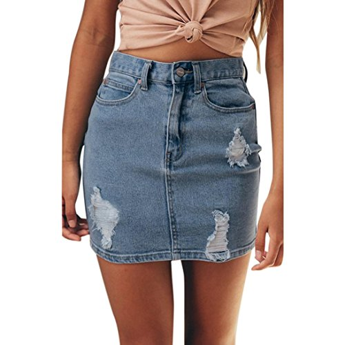 Fuibo Mädchen Sommer Rock Frauen Denim Jeans fester beiläufiger Loch Knopf Kurzschluss Rock  Minirock Taillen-Rock Midirock A-Linie (L, Blau) (Taille-mini-rock Geraffter)