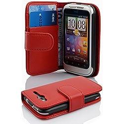 Cadorabo Étui de protection à rabat en similicuir pour HTC Wildfire S avec compartiment pour cartes Rouge