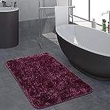 Paco Home Moderner Hochflor Badezimmer Teppich Einfarbig Badematte Rutschfest In Dunkellila, Grösse:80x150 cm