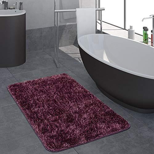 Moderno pelo lungo bagno tappeto monocolore tappetino da bagno antiscivolo lilla, dimensione:70x120 cm