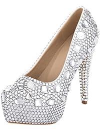 VELCANS Zapatos de Diamantes de Imitación 14cm Tacón y Plataforma Para Boda, Baile, Novia, Graduación y Fiesta Para Mujer