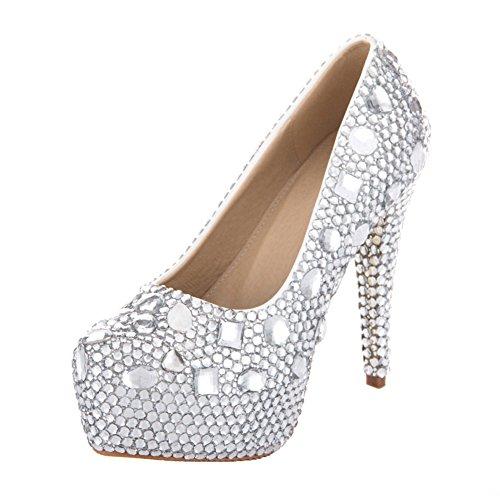 VELCANS Mode Strass Hochzeit und Abschlussball 14 CM High Heels für Braut, Brautjungfern Damen Pumps Schuhe (41, Silber Und High Heels 14CM)