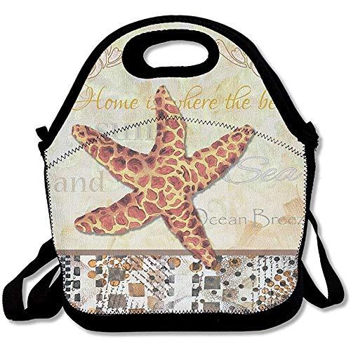 (Coastal Seestern Malerei dekorative Kunst große & dicke Neopren Lunch-Taschen Isolierte Lunchtasche Kühltasche Warm Tasche mit Schultergurt für Frauen Teenager Mädchen Kinder Erwachsene)