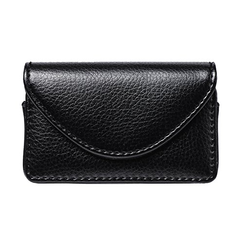 FYY Visitenkarten-Etui, handgefertigt, hochwertiges PU-Leder C-Black Business Name Card Case (Case Leder Card Business)