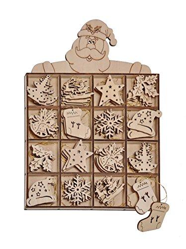 Set da 48 pezzi, ciondoli di legno - albero di Natale, in bel Design 54219
