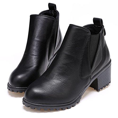 CRAVOG 2016 Mode Femmes Bottines Tamaris Cuir Synthétique Boots Cheville Talons Compensés Chaussures d'hiver Bottes de Cheval 36-39 Noir