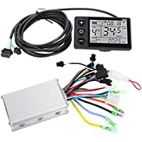 Tbest 24V-48V Brush Motor Speed Controller, 250W/350W Electric Motor Controller with Waterproof LCD Display Panel for E-Bike Electric Bike Bicycle Scooter Brushless Controller Kit (36V/48V 350W)
