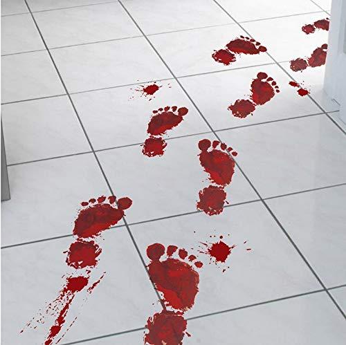 (LXHLXN 3D Horror Wandaufkleber Blutige Fußabdrücke Bodenklammern Halloween Vampire Zombie Party Decor Aufkleber Dekoration)