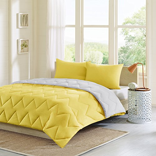 Intelligente Design Trixie wendbar Down Alternative Tröster Mini Set, grau/gelb, King/CALIFORNIA King