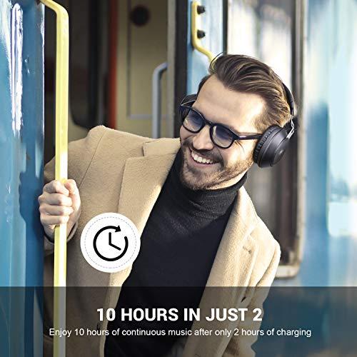 OneAudio Bluetooth 5.0 Kopfhörer, Kabellose Over Ear Kopfhörer mit eingebaute Mikrofon und Klarem Bass, Dual 40mm Treiber Verstellbare Blootooth Headset mit Soft Memory-Protein Ohrenschützer - 4