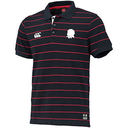 Canterbury Herren England Rugby Short Sleeve Stripe Polo Shirt Top Small Navy - Short Sleeve Rugby Shirt