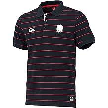 Canterbury Mens England CCC Logo Striped Polycotton Pique Polo Shirt c2a59a2b3b77c