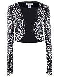 Anna-Kaci, glitter paillettes maniche lunghe Blazers bolero Coprispalle ritagliata giacche Black/Silver Medium