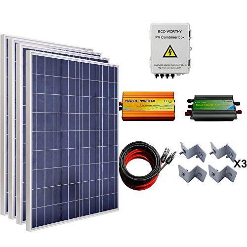 ECOWORTHY 400W Solar Panel Komplett System: 4Stück 100W Poly Panel + Solar Combiner Box + 1000W Wechselrichter + 60A Laderegler + 16FT Kabel + Halterungen -