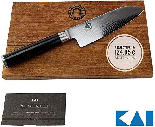 Kai Shun Classic Damastmesser | DM-0727 | handliches Santokumesser aus Damaststahl mit 14 cm Klinge | + handgefertigtes und robustes Fassholzbrett (Eiche) aus der Pfalz 25x15 cm | VK: 149,90 €