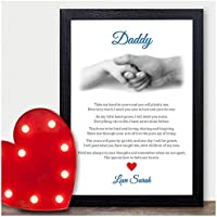 Personalised Dad Birthday Poem Gift - Birthday Gifts for Daddy Dad Hand Poem - PERSONALISED ANY RECIPIENT for Birthdays, Christmas - Black or White Framed A5, A4, A3 Prints or 18mm Wooden Blocks