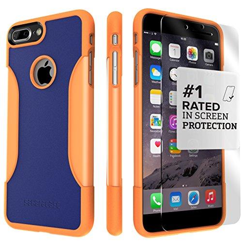 Funda iPhone 7 Plus, (Naranja, Azul) Kit Funda Protectora SaharaCase con [Protector de Pantalla de Vidrio Templado ZeroDamage] Fuerte Protección Antideslizante [Cubierta Anti-golpes] Fino y Elegante