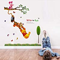 ylckady Animal cartoon Winnie The Pooh tree wall stickers for kids baby rooms boys girl home decor wall decals home decoration wallpaper