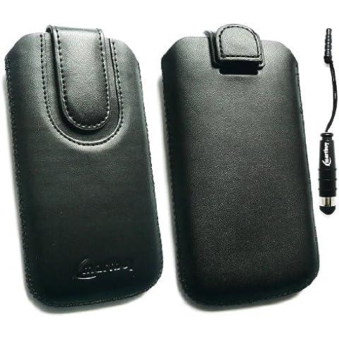 Emartbuy ® Stylus Pack Para Lg P990 Optimus 2X Negro / Negro Slide Cuero De Primera Calidad De Pu En La Bolsa / Caja / Manga / Soporte (Tamaño 3Xl) Con El Mecanismo De Lengüeta + Metálicos Mini Negro Stylus + Protector De