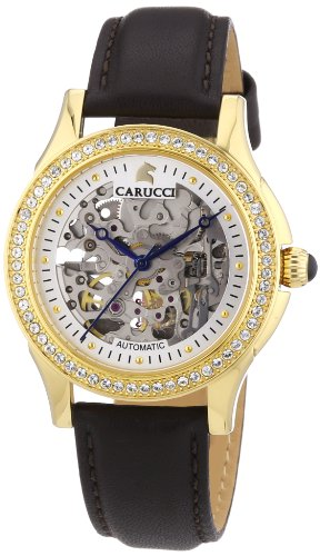 Carucci Self-Winding Watches Ladies Watch Analogue Automatic Leather CA2212GD