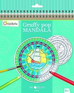 Avenue Mandarine graffy Pop Mandala Colorear Pack (Black/White)