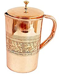 4ORKE Handmade Emboss Pure Copper Jug Pitcher Capacity 1700 ml Storage Serving Drinking Water | Home Hotel Restaurant Tableware Drinkware