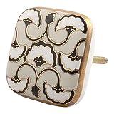 #3: IndianShelf Set of 2 Handmade Black Sea Shell Square Ceramic Drawer Knobs Cabinet Dresser Pulls Wardrobe Handles Online