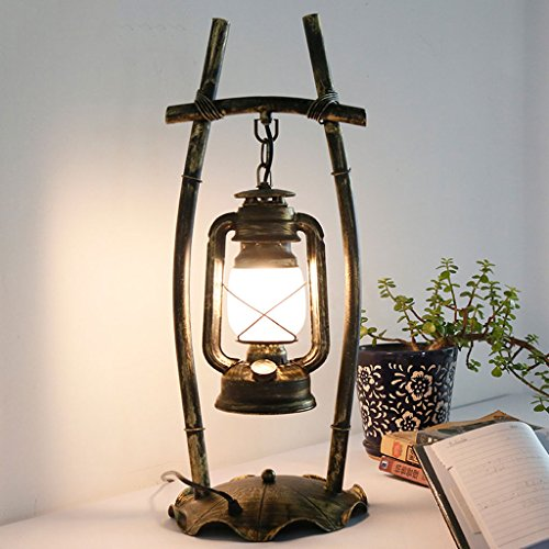 Meters Retro Vintage-Schreibtischlampe Persönlichkeit Schlafzimmer Studio Bar, Schmiedeeisen antike Petroleumlampe kreative schmiedeeiserne Tischlampe Taste schaltet die Leuchte Glasschirm - Schmiedeeiserne Leuchten