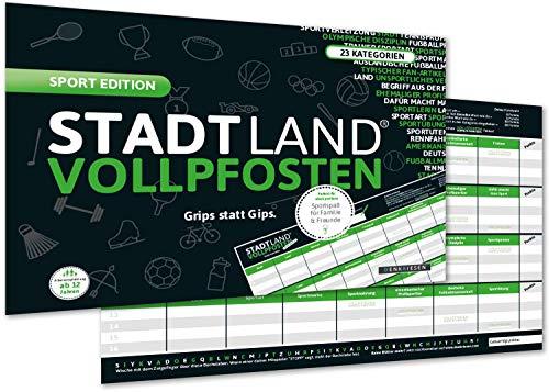 DENKRIESEN - Stadt Land VOLLPFOSTEN® - Sport Edition \'Grips statt Gips.\' Stadt Land FLUSS SPIELBLOCK