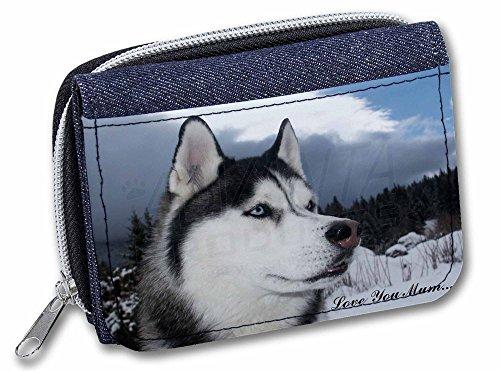 Advanta Denim Geldbörse Sibirian Husky 'Love You Mum' Mädchen/Damen Geldbörse AD-H52lymJW Kreditkarten-Etui 13 cm Jeansblau