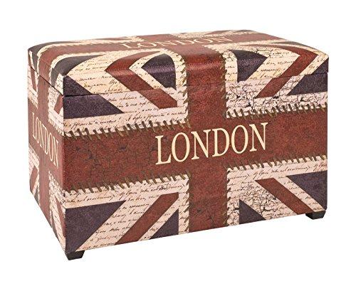 Sitztruhe mit London als Schriftzug in Kunstleder bezogen; Maße (B/T/H) in cm: 65 x 40 x 42