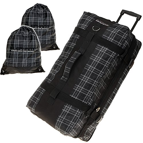 ELEPHANT TROLLEY 80 cm XXL Reisetrolley Rolltasche Trolly Koffer 120 Liter / Schwarz-PLAID KARO