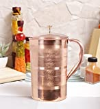 #9: Kurtzy Pure Copper Jug Pitcher  1500ml  Lacquered Royal Jointless Leak Proof for Serving Water and Travelling Purpose Yoga Ayurveda Healing Health Benefits With Free E-book