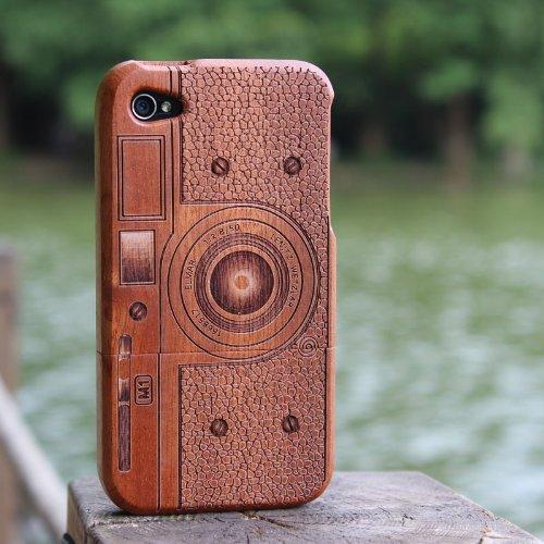 SunSmart Einzigartigen, handgefertigten Naturholzhartholzhülle für das iPhone 4 4S (bunte Streifen) sapele C4