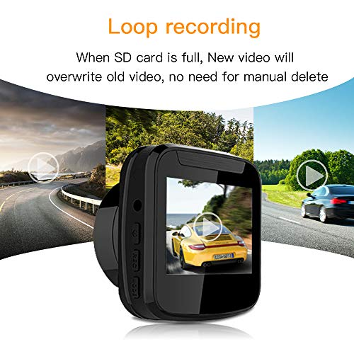 Dash Cam Dashboard Camera Recorder in auto Mini DVR Camera 1080P Telecamera cruscotto auto con G-sensor, Loop Recording, Motion Detection, Supporto 32GB Card MAX.