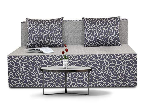 Adorn India Easy Two Seater Sofa Cum Bed Poly Cotton  4'X6' (Blue and Grey)
